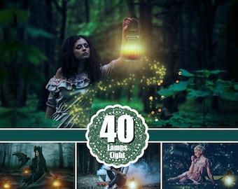 40 Light overlays, kerosene lamp, candle lamps, sunburst, magic fairy fantasy light lighting effects, Photoshop Overlay, png