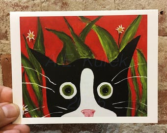 Tuxedo Cat Card - Tuxedo Cat Art - Funny Blank Card - Silent Mylo Tuxedo Cat in the Weeds - Kitty Card - Blank Inside Card - cat Stationary