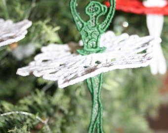 Ballet,Ballerina Christmas Ornament,Embroidered 3D Lace,Christmas Decoration, Ballerina,Lace Ballet Dancer,Ballet Dancer,SEWBUSY12