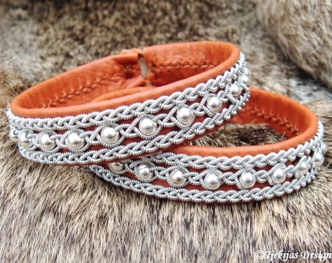 YDUN Arctic Sami Bracelet. Swedish Lapland Bracelet in Bark Tanned Leather with Silver Beads in Pewter Braids