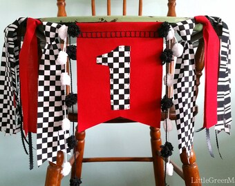 Race Car Banner, 1st Birthday highchair banner, Smash cake photo prop, Birthday Party Banner