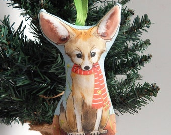 Fox Fabric Christmas Ornament Fennec Fox in Scarf Holiday Decoration