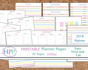 2018 planner inserts, Printable planner pages, password tracker, dividers, divider tabs, Printable planner, Instant Download, Digital file