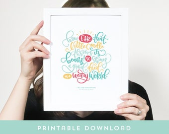 Printable art - Wall art - Hand drawn quote art - Black and white - Hand lettered calligraphy - Office Decor Motivational quote Shakespeare