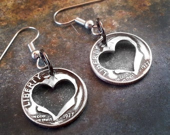 Valentine's Day Gift for Her Heart Earrings made from a Dime Customizable Years Valentines Day Gift for Women February Birthday