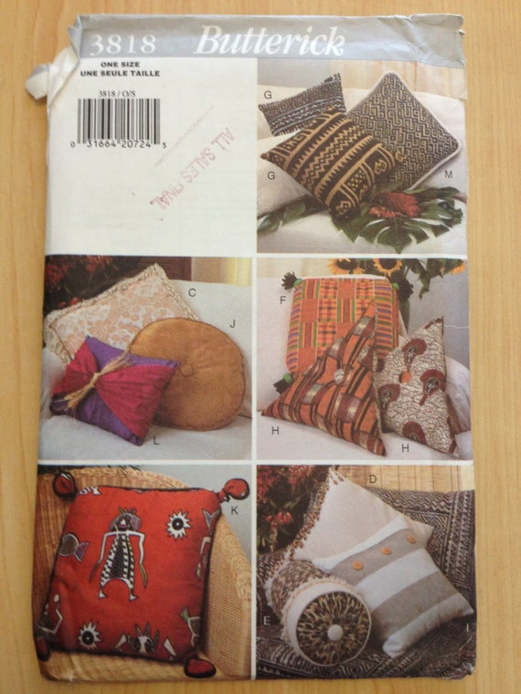 Butterick 3818 Sewing Pattern 90s UNCUT Pillow Package Pillows and Pillow Covers
