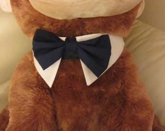 Navy Tuxedo Bow tie and Collar fits Over The Collar Wedding