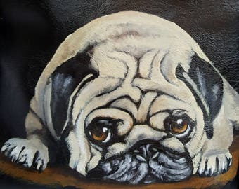 Leather Backpack with USB Charging Port Painted with 'Harry' the Pug