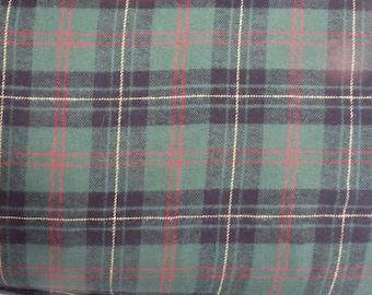"""Green Plaid Flannel, Yarn-Dyed Flannel, Green Cotton Flannel Fabric, 56"""" Wide, BTY or Half Yard"""