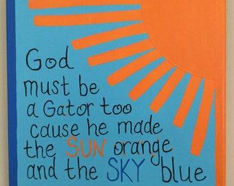 Gators, Orange and Blue, Florida Gators canvas, University of Florida Gators, wall art, acrylics, painting