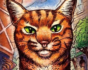 "Farm Cat- 8"" x 10""- Cat Art Print- Cat Wall Decor- Cat Wall Art- Cat Print- Cat Gift"