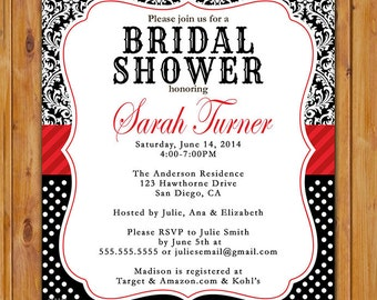 Damask Bridal Shower Invite Red Accents Black White Polka Dots Pattern Bride Baby Shower Birthday Printable Invite (191)