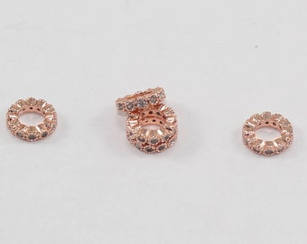 1 Pcs Rondelle Spacer Beads 8mm Rose Gold Plated Micro Pave Round Zirconia, Round Zirconia, Bracelet Connectors, CZ Space Beads, MMT215