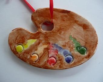 Artist Palette Ornament - handmade ceramic