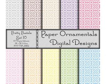 Instant Download, Commercial Use Digital Paper, Digital Scrapbook Paper 12 x 12, Printable Paper, Designer Paper Pattern, Pastel Colors