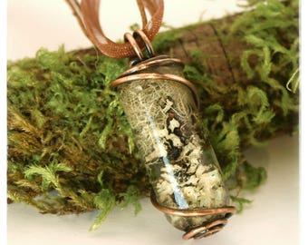 Lots of Lichen Copper Wire Wrapped Resin Pendant