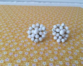 Vintage Milk Glass Earrings