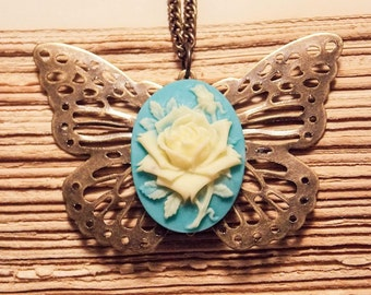 Turquoise and Bronze Butterfly Cameo Necklace