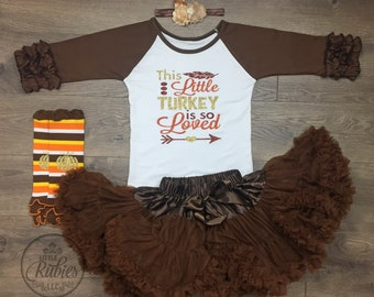Thanksgiving outfit girl This little turkey is so loved little girl Thanksgiving outfit Toddler girl Thanksgiving outfit little girl Turkey