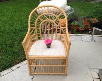 BAMBOO BRIGHTON STYLE Chair / Bamboo Chippendale Style Chair with Cushion / Bamboo Rattan Pavillion Chinoiserie Style Retro Daisy Girl