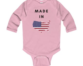 Made In USA Infant Long Sleeve Bodysuit