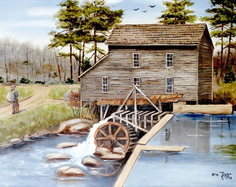 Folk Art Prints, Howard's Creek Grist Mill, Lincolnton, 1930s, North Carolina, Dirt Road, Country Scenes, American Southern Folk Art, Arie
