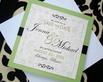 NICHOLE DAMASK Square Wedding Save the Date - Sample
