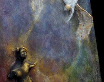 Against The Forbidden. COMMISSION Inspirational Wall Sculpture by Fae Factory Artist, Dr Franky Dolan (3D clay relief painting) {SEE VIDEO}