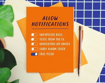 Allow Notifications Birthday or Galentines Card - funny birthday card - galentines day card - birthday card for friend