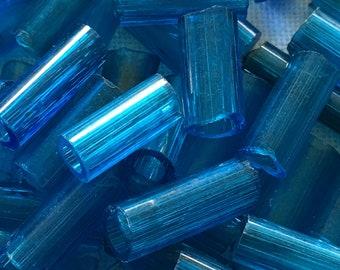 Beads - Vintage Large Hole Bugle Beads 145 Small Blue Glass Bugle