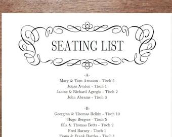 Printable Seating List - Wedding Seating List Template - Instant Download - Seating Chart PDF - Black Vintage Border - Flourishy Black Frame