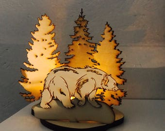 Baltic Birch Plywood Wilderness Cut Out with Tea Light
