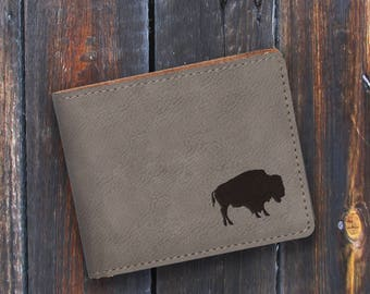 Engraved Bifold Wallet-Personalized Hunting-Mini Size Art Work-Gray Wallet-Bufflao