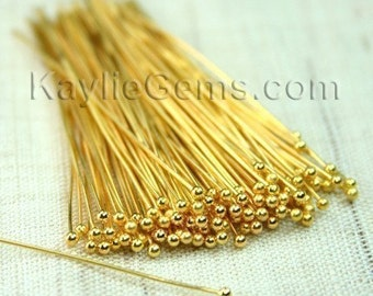 Headpins Ball Tip Head End Gold 51mm 2 inches, 22 Gauge -50pcs