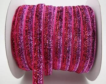 Glitter purple and fuchsia (x 1 meter) polyester Ribbon