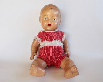 Vintage 1940's Composition Baby Doll with Red Polka-Dot Onesie