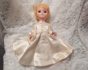 CLEARANCE SALE.....Vintage  1950s Bride Doll with Short Blonde Hair, Button up Satin with Lace and 3 panel Veil with Pearls