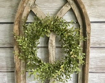 Farmhouse Boxwood Wreath, MINI Boxwood Wreath, Farmhouse Candle Wreath, House Warming Gift