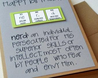Chemistry Periodic Table Birthday Nerd Card - Nerdilicious Science Teacher Green and Grey
