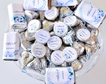 Custom Wedding Kiss Stickers, Wedding Label Hershey® Kisses, Wedding Party Labels, Wedding Party Favors, Watercolor Blue Wedding