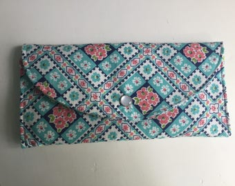 Women's Wallet, Up-cycled Vintage Feedsack Fabric,Teal, Pink, White, Card Wallet, Cash Wallet, Fabric Wallet