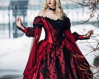 Sale-In Stock! Halloween Wedding Gown Gothic Sleeping Beauty Red and Black Sparkle Fantasy Gown Medium