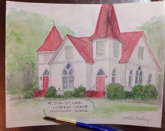 Watercolor Painting of Mt. Zion- St. Luke Lutheran Church in Oglethorpe, GA - 8x10 print
