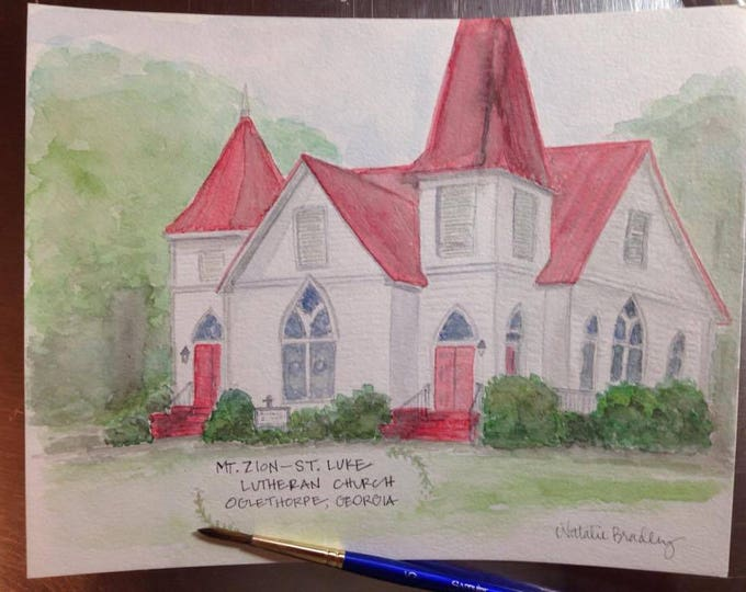 Featured listing image: Watercolor Painting of Mt. Zion- St. Luke Lutheran Church in Oglethorpe, GA - 8x10 print