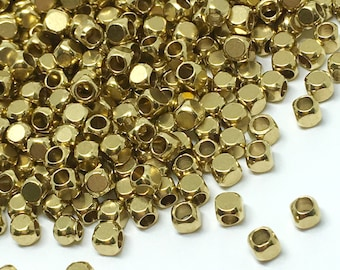 3mm x 3mm Raw Brass Cube Beads - Brass Cube - Cube Beads - Spacer Beads - Brass Tiny Beads