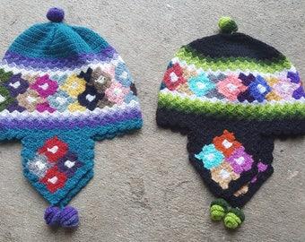Handmade winter hat, Colorful winter hat chullo, Hat Chullo, Winter hat