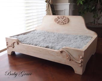 Handmade Dog Bed, Wood Pet Bed, Raised Dog Bed, Newborn Prop Bed, Doll Bed, Wood Newborn Photo Prop, Newborn Photography Prop, Pet Furniture