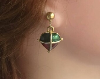 Vintage Gold Tone Dangle & Drop Red Green Enamel Heart Earrings Anne Klein