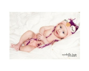 Download PDF crochet pattern - Sleepy Owl hat and diaper cover