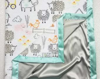 Minky Blanket, Baby Boy, Farm Animal, Grey and mint, silky blanket, cow blanket, sheep blanket, eieio, Tractor minky, satin blanket